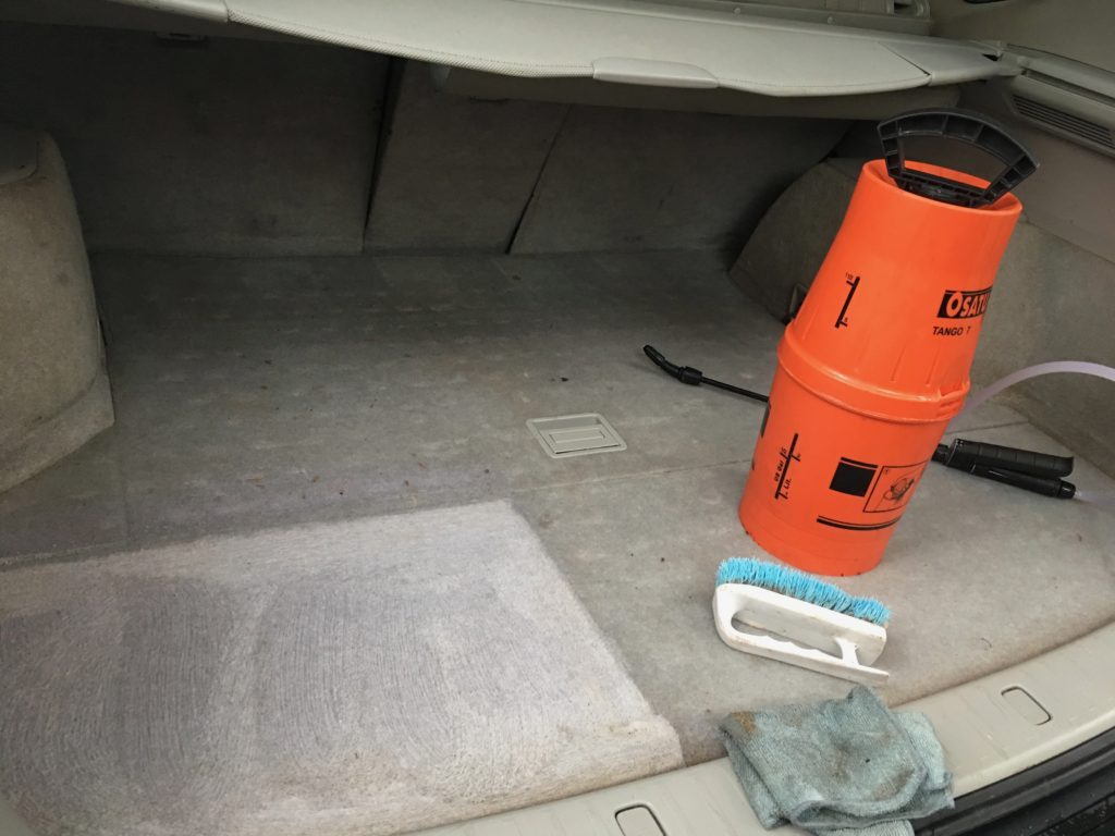 In process of cleaning boot